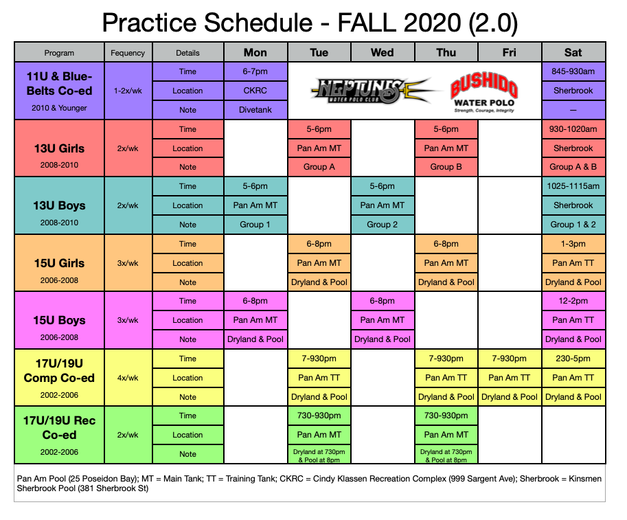 Practice Schedule Fall 2020